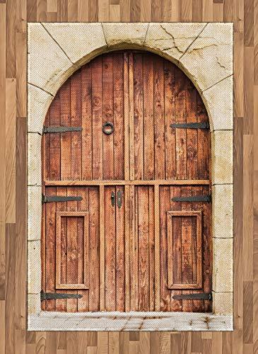 ABAKUHAUS Rustikal Teppich, Eiche Tür Steinfassade, Deko-Teppich Digitaldruck, Färben mit langfristigen Halt, 120 x 180 cm, Braun Creme