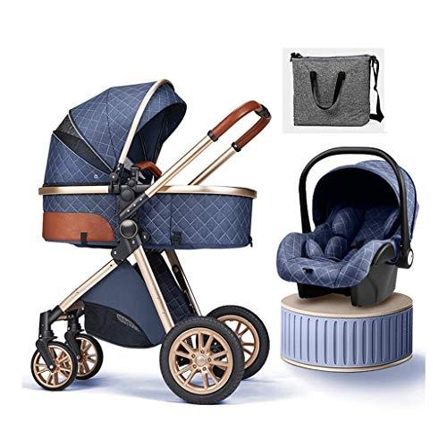 JIAX Cochecito De Bebé 3 En 1 Sistema De Viaje con Asiento De Coche Cochecito De Bebé Plegable Fácil Saco para Pies Manta Almohadilla De Enfriamiento Cubierta para La Lluvia Mochila Mosquitera