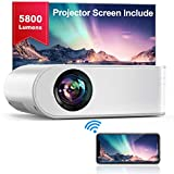YABER WiFi Projector Mini Portable Projector 5800 Lumens 1080P Full HD Projector[Projector Screen