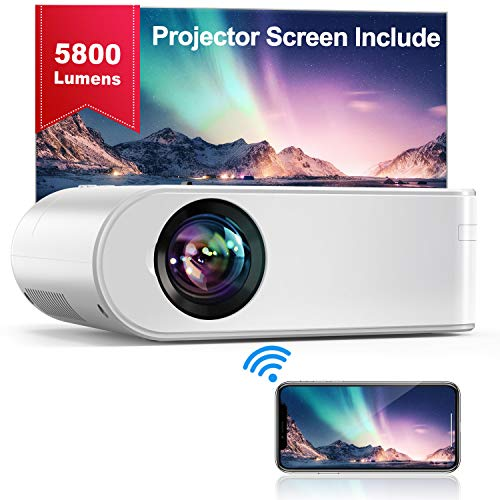 YABER WiFi Projector Mini Portable Projector 5800 Lumens 1080P Full HD Projector[Projector Screen Include] 200' Home theater Compatible with PC/smartphone/tablet/PS3/PS4/TV Stick/DVD player etc.