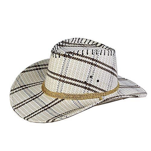 Azly-Caps Chapeaux de Paille de Tartan de Place des Hommes, Chapeaux convenables de Cowboy pour Le Jardin de Partie de Plage, Camping,Blanc