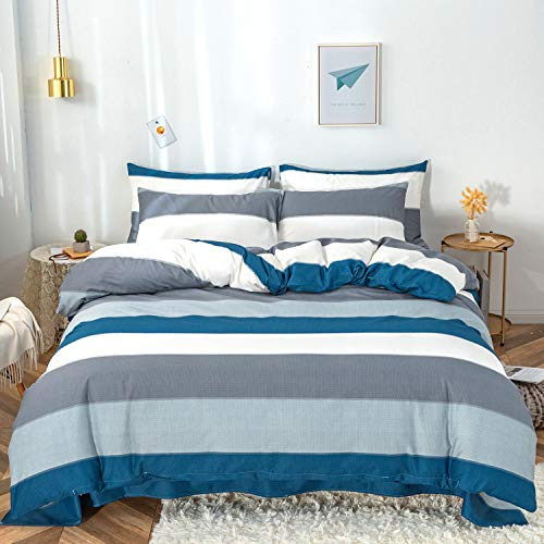 SECODOHOME Cotton Duvet Cover Sets Bedding Set - Striped Duvet Cover Set with Zipper Closure Includes 2 Pillowcases - Easy Care 3 Piece Sets, Blue A2 - Double 200cm x 200cm