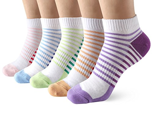 Low Cut Ankle Sneaker Socks for Women 5 Pairs Breathable Stripe Short Trainer Socks for Casual Running Walking Fitness Outdoor Sports
