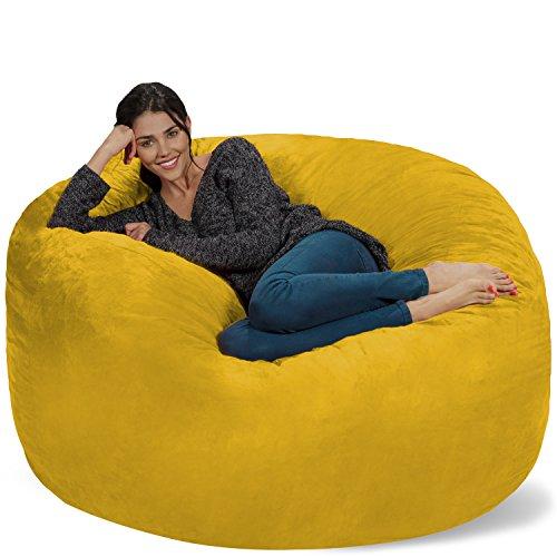Chill Sack Bean Bag Chair: Giant 5' Memory Foam Furniture Bean Bag - Big Sofa with Soft Micro Fiber Cover - Lemon