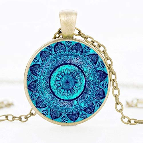 LKJH Vintage Glass Dome Ketting Boeddhisme Chakra Glas Cabochon Hanger Jewelry Yoga Mandala kettingen for Unisex (Metal Color : Bronze2)