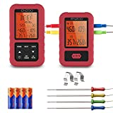 ENZOO Digital Meat Thermometer Wireless 500FT with 4 Probes,Alert,Timer for Grilling Smoking, Grill,...