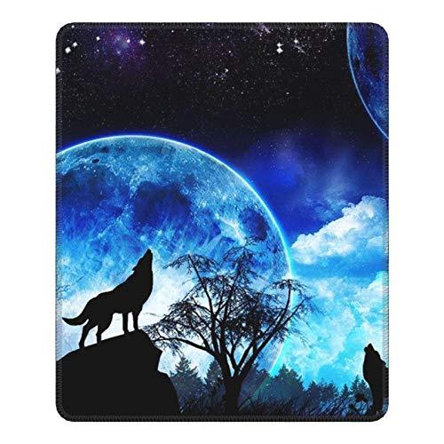 Alfombrilla de ratón ¿Cómo lloran los Lobos en la Luna? Alfombrilla de ratón Antideslizante Cursor Pad Impermeable Bonitos y exquisitos Accesorios de Escritorio (25x30cm)