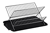 Neat-O by Hopeful Deluxe Chrome-Plated Steel Foldable X Shape 2-Tier Shelf Small Dish Drainers with Drainboard (BlackII)