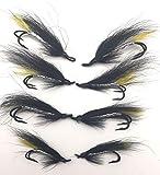 BestCity Lachs Fliegen Silber Stoats Tail Doppel Größen 4–10Pack von Acht (8) UK Qualität Gebunden Fliegen # 151A