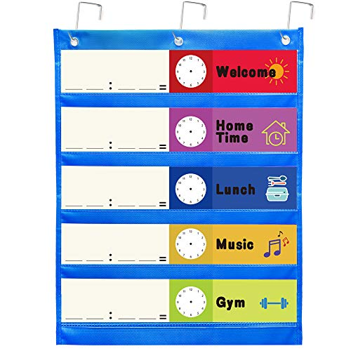 Youngever Small Classroom Pocket Chart 17 inch X 22 inch, 5 Pocket, Daily Schedule Pocket Chart, with 10 Double-Sided Reusable Dry Erase Cards (10 Colors Design, 5 Stripe Design, 5 Blank)
