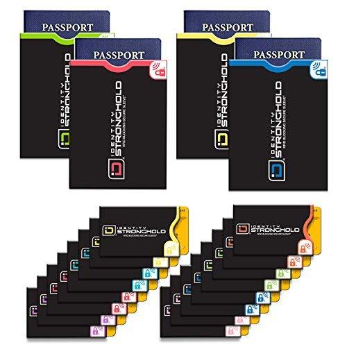 Identity Stronghold - RFID Blocking Sleeves, Set of 20 (16 Credit Card Sleeves + 4 Passport Sleeves) - Passport and Credit Card Protector Sleeves - Anti RFID Identity Theft Protection