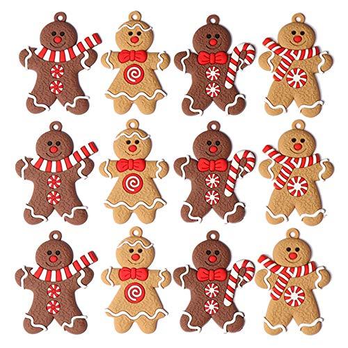 CYGG Lebkuchenmann-Ornamente für Weihnachtsbaumschmuck, hängende Charms, Figur, Urlaub, Anhänger, Dekoration, Zuhause, Büro, Café, Party, 12 Stück