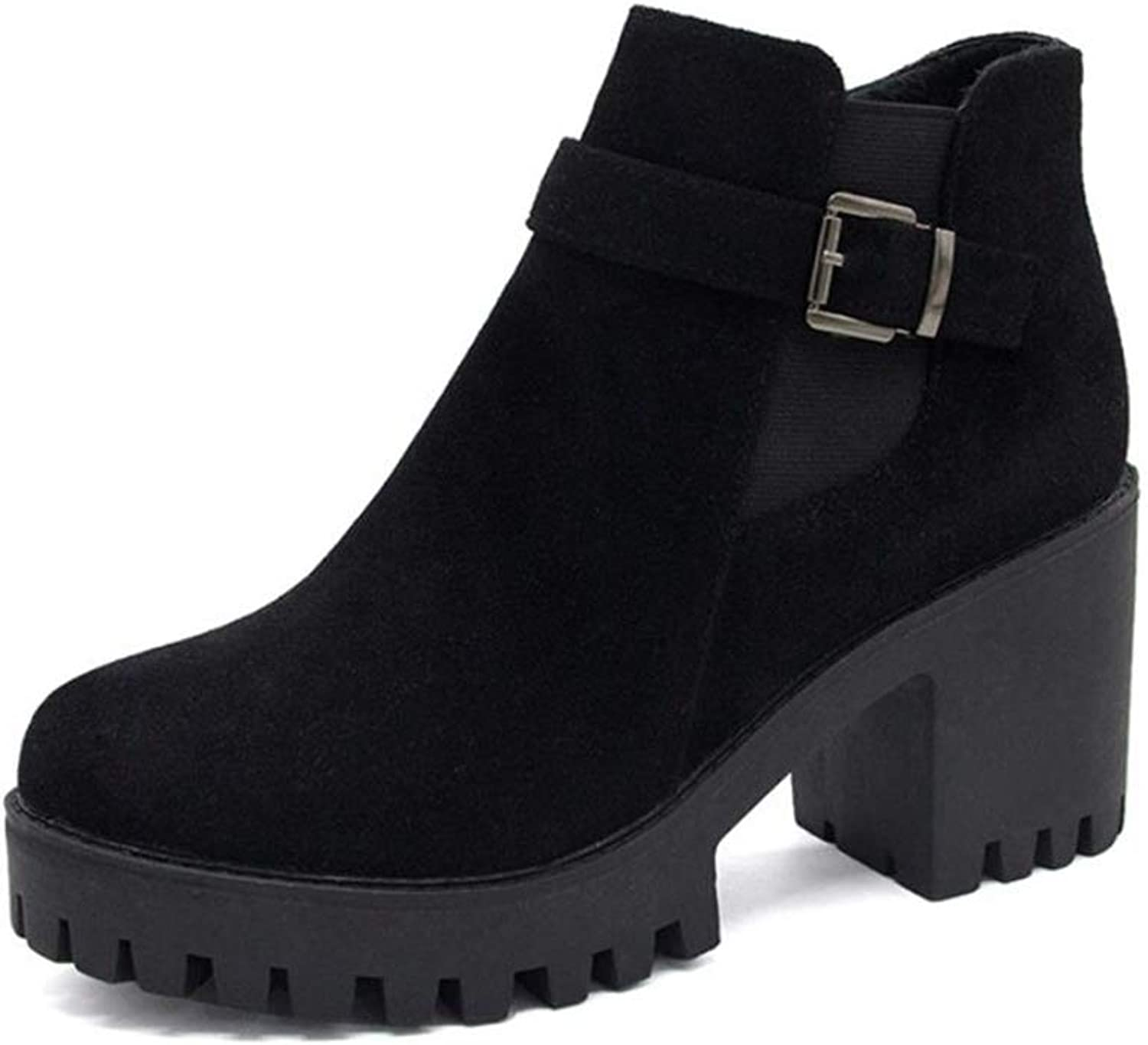 Quality.A Women's Buckle Martin Boots Thick with Ankle Boots Ankle Boots high Heels