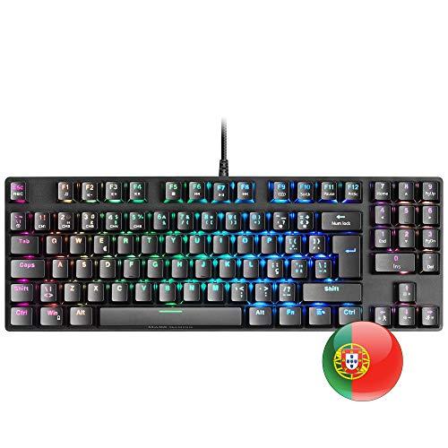 Mars Gaming MKREVOPRO, Mechanische RGB-Gaming-Tastatur, TKL+NUM, Switch Blue, PT