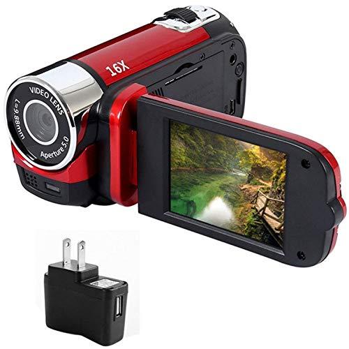 QiKun-Home 1080P Anti-vibración Luz LED Cámara Digital Cámara de grabación de Video Regalos Selfie cronometrados Profesionales Visión Nocturna de Alta definición Enchufe Rojo de EE. UU.
