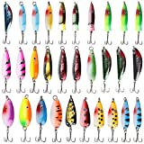 Fishing Spoons Metal Fishing Lures Kit 30PCS Hard Fishing Spinner Bait with Treble Hooks Colorful Hard Metal Baits Set for Bass Trout Salmon Freshwater Saltwater Fishing Tackle Box