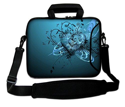 Luxburg® 17,3 Zoll Schultertasche Notebooktasche Laptoptasche Tasche mit Tragegurt aus Neopren für Laptop/Notebook Computer - Blaues Herz