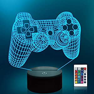 Lampeez 3D Game Control Lamp Gamepad Night Light 3D Illusion lamp for Kids, 16 Colors Changing with Remote, Kids Bedroom Decor as Xmas Holiday Birthday Gifts for Boys Girls