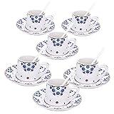 fanquare Blue Flowers Espresso Coffee Cup Set, Plum Blossom Porcelain Coffee Sets, Set of 6 Tea Cups and Saucers Set