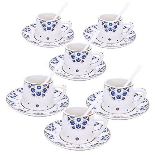 fanquare Set 6 Tazzine da caffè Espresso da Fiori Blu, Servizio di caffè in Porcellana di Fiori di Prugna, Piccola capacità Tazzine caffè con Piattino