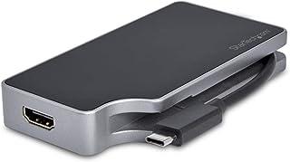 محول فيديو متعدد المنافذ USB C من StarTech.com توصيل طاقة 4 في 1-95 واط - سبيس جراي - ألومنيوم - 4 كيلو هرتز - كابل يلتف ح...