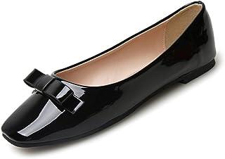 [JIANXI] パンプス エナメル フラットシューズ バレエシューズ ぺたんこ リボン 美脚 ビジネス パーティー レディース 歩きやすい カジュアル 軽量 通勤 女性 靴 かわいい 結婚式