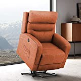 eclife Massage Electric Power Lift Recliner Chair with Lumbar Heating, Ergonomic Lounge Chair, Reclining Sofa for Living Room, Side Pocket, USB Ports & Remote Control (Power Lift, Orange+Fabric)