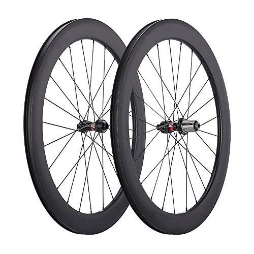 LANDMYTH Carbon Wheels 50mm Disc Road Bike Wheelset 50mm Clincher Tubeless Ready Disc Brake 12x100/12x142mm Only 1795g