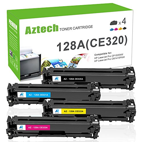 AZTECH 4 Pack Black Cyan Yellow Magenta Compatible Toner Cartridge Replaces HP 128A CE320A CE321A CE322A CE323A CE320 For HP LaserJet Pro CP1525N CP1525NW CP1525 LaserJet Pro CM1415FN MFP CM1415FNW