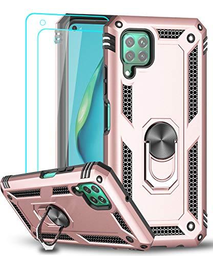 LeYi Funda Huawei P40 Lite con [2-Unidades] Cristal Vidrio Templado,Armor Carcasa con 360 Grados Anillo iman Soporte Hard PC Silicona TPU Bumper Antigolpes Case para Movil P40 Lite,Oro Rosa