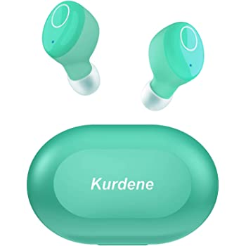 Kurdene Small Wireless Earbuds,Bluetooth Earbuds with Charging Case Bass Sounds IPX8 Waterproof Sports Headphones with Mic Touch Control 24H Playtime for iPhone/Samsung/Android-Grass Blue