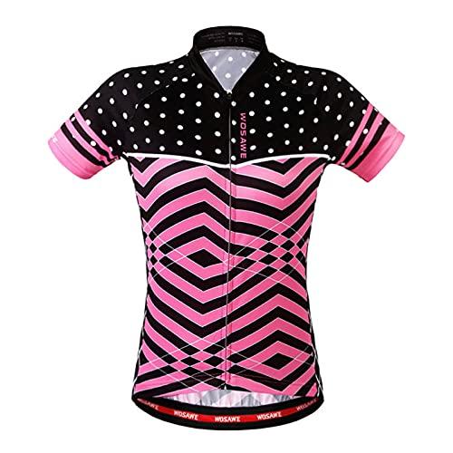 LDD OUTDOOR Frauen-Radtrikot Kurzarm-Fahrradspitzen Schnelltrocknendes, Atmungsaktives Mountainbike-MTB-Shirt Rennradbekleidung Zum Joggen Radfahren,Rosa,L