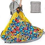 Enfants Sac de Rangement Jouet,Organisateur Rangement pour Lego Tapis de Jeu Pliable sacs de Blocs de Construction Portable 150cm Organisateur Rapide Grande Capacité (Gris)