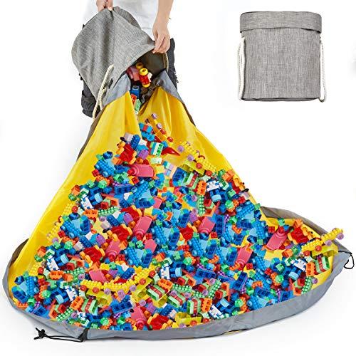 Alimto Grand tapis de jeu 2 en 1 - Fonction panier de rangement pour jouets, pliable, en toile, idéal pour jouer en plein air, pour une chambre d'enfant ou une salle de classe (gris)