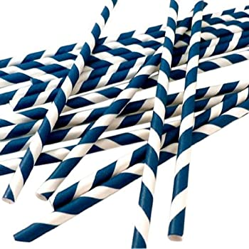 Bella Cupcake Couture Paper Straw, Navy Blue/White Stripes Pack of 24
