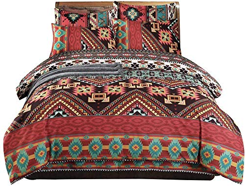 Ethnic Indian Style Orkney Navy Maroon Red Brown And Gold Double Duvet Cover Set