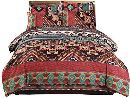 Loussiesd Boho Duvet Cover Set Double Ethnic Exotic Bohemian Bedding Set Southwest Bohemia Striped Bedspread Cover Microfiber Aztec Bedding Comforter Cover with 2 Pillow Shams Colorful Zipper