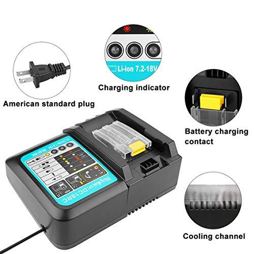 Herramienta eléctrica universal del cargador de batería recargable de iones de litio de 14.4/18V para la estación de carga Makita DC18RCT/Negro
