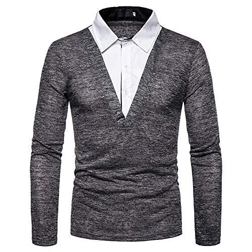 SALEBLOUSE Herren Patchwork Farbe Matching Shirt Langarm Mit Knöpfen Cotton Dress...
