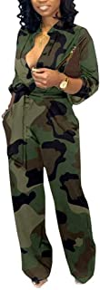 OLUOLIN Women's Sexy Wide Leg Long Sleeve Cocktail V Neck Jumpsuit Button Down Belted Camouflage Rompers