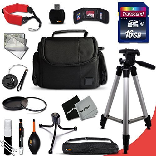 """Ideal Nikon Digital Camera Accessories KIT for Nikon Coolpix P610, P600, P530, 1 S2, 1 J4, 1 V3, P520, P7800, P7700, P340, P310, P510, P4, P3, 1 AW1, 1 J3, 1 J2, 1 J1, 1 S1, 1 V2, C810, S9900, S7000, S6900, L610, L810, L30, L28, L26, L120, AW130, AW120 Digital Cameras Includes: 16GB High Speed SD Memory Card + Fits All Well Padded Case + Full Size 60"""" Inch Tripod + 52mm UV Protection Filter + 52mm Center Pinch Lens Cap + Lens Cap Holder + Memory Card Wallet Case Holder + Floating Foam Hand-Strap + Universal Memory Card Reader + 2 Screen Protectors + Cleaning Dust Blower + Cleaning Pen + Mini Flexible Table Tripod + Deluxe Cleaning Kit"""