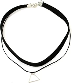 Sttiafay Gothic Hollow Triangle Pendant Necklace Multilayer Leather Rope Choker Soft Collar Chain Jewelry for Women Girls