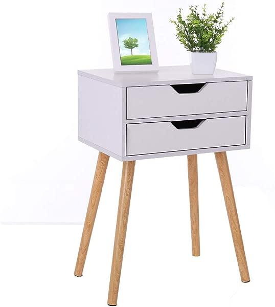 Assemble Storage Cabinet Bedroom Bedside Locker Double Drawer Bedside Table 15 7x11 8x23 6Inch White