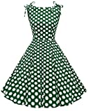 MUADRESS 1958 Women's Retro 1950s Boat Neck Vintage Rockabilly Cocktail Party Dress GreenWhiteDotB XX-Large