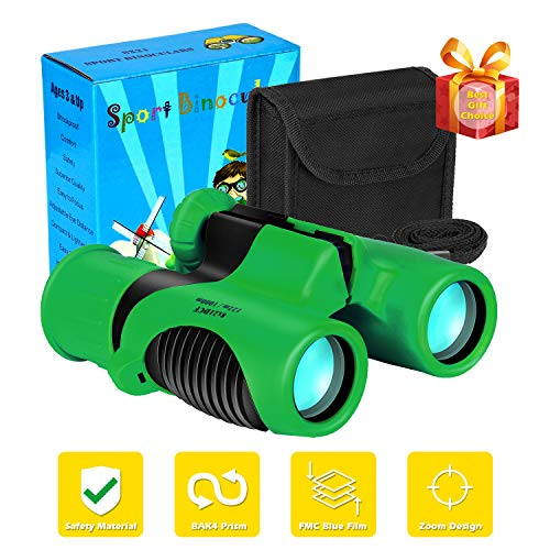 Compact Mini Binoculars for Kids – 8x21 Zoom Kids Binoculars Toy Gift Shock Proof for 3 4 5 6 7 8 9 10 11 12 13 Years Old Boys Girls Bird Watching Sporting Events Children Best Present (Green)