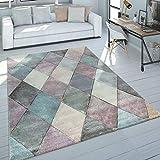 Paco Home Teppich Wohnzimmer Bunt Pastellfarben Rauten Muster 3-D Design Kurzflor Robust, Grösse:120x170 cm