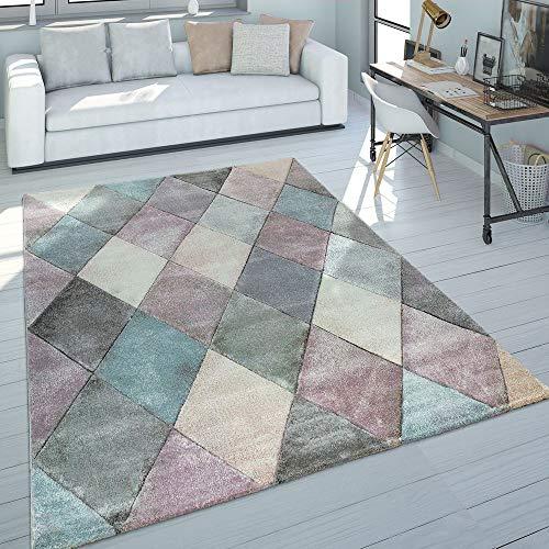 Paco Home Teppich Wohnzimmer Bunt Pastellfarben Rauten Muster 3-D Design Kurzflor Robust, Grösse:200x290 cm