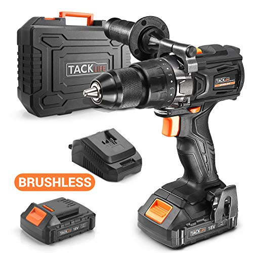 TACKLIFE Perceuse Visseuse Brushless 18V 65N.m, Mandrin en Métal Auto-bloquant 13mm, 2 Batteries Lithium-ion 1500mAh, Mandrin Métal 13mm, Chargeur Rapide 1h, BLPCD01B