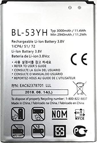Systene Compatible Battery for LG 2940, 3000mAh BL-53YH Battery for LG G3 D830 D850 D851 D855 D857 D858 D859 F400 F460 F470 VS985 Batteries
