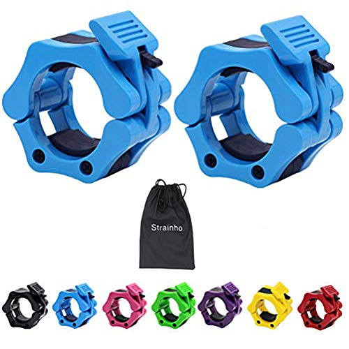 Strainho 2' Olympic Barbell Clamps - Quick Release Bar Clips Great for Fitness Training,Bodybuilding,Weightlifting (Pink)